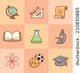 set of vintage school icons | Shutterstock .eps vector #210850885