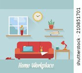 home workplace flat vector... | Shutterstock .eps vector #210851701