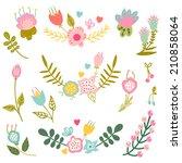 retro flowers in vector. cute... | Shutterstock .eps vector #210858064