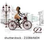 Fashion Girl Rides A Bicycle ...