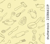 kitchen utensils vector pattern | Shutterstock .eps vector #210866119