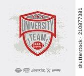 rugby emblem university team... | Shutterstock .eps vector #210877381
