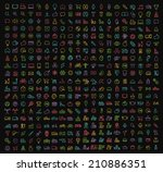 400 universal thin line color... | Shutterstock .eps vector #210886351