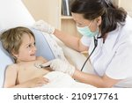 doctor consulting a cute funny... | Shutterstock . vector #210917761