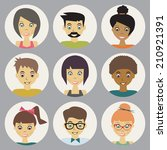 trendy flat people icons set | Shutterstock . vector #210921391