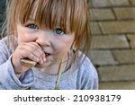 hungry child with big clear... | Shutterstock . vector #210938179