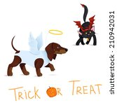 cat dressed like devil vs dog... | Shutterstock .eps vector #210942031