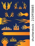 set of 13 hot rod style flame... | Shutterstock .eps vector #210958885