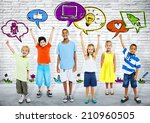 smart kids with icons | Shutterstock . vector #210960505