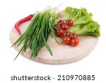 onions and cherry tomatoes on a ... | Shutterstock . vector #210970885