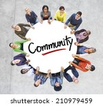 diverse people in a circle with ... | Shutterstock . vector #210979459