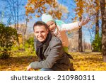 adorable little girl with happy ... | Shutterstock . vector #210980311