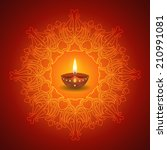 decorative diwali lamp on... | Shutterstock .eps vector #210991081