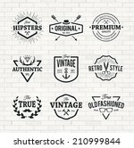 set of hipster emblems on brick ... | Shutterstock .eps vector #210999844