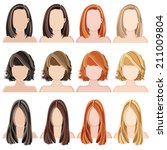 set of vector hairstyles for... | Shutterstock .eps vector #211009804