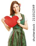 smiling woman carrying a red... | Shutterstock . vector #211012549