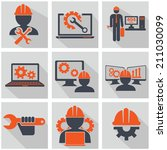 Computer service and Engineering vector icons set
