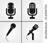 microphone icons  | Shutterstock .eps vector #211034701