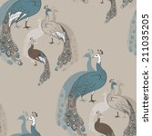 seamless pattern with peacocks  | Shutterstock .eps vector #211035205
