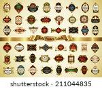 set of gold framed labels  ... | Shutterstock .eps vector #211044835