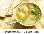 delicious matzoh ball soup with ... | Shutterstock . vector #211056181
