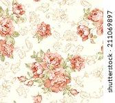 fresh spring flowers seamless... | Shutterstock . vector #211069897