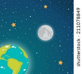 earth and moon in space  vector   Shutterstock .eps vector #211078849