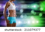 close up of sport woman in... | Shutterstock . vector #211079377