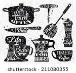 kitchen symbol in retro vintage ... | Shutterstock .eps vector #211080355