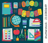 flat school set. vector.  | Shutterstock .eps vector #211083649
