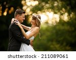 just married couple embrace ... | Shutterstock . vector #211089061