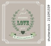 romantic card in vintage style... | Shutterstock .eps vector #211091539