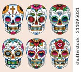 set of tattoo art skulls in... | Shutterstock .eps vector #211095031