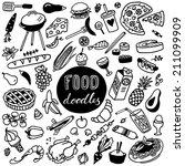 hand drawn food doodles | Shutterstock .eps vector #211099909