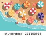 Summer Beach In Flat Design ...