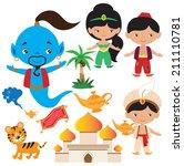 aladdin fairy tale vector... | Shutterstock .eps vector #211110781
