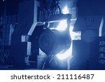 steel mills converter filling...   Shutterstock . vector #211116487
