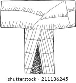 letter t as wigwam in black... | Shutterstock .eps vector #211136245