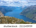 lysefjorden view in spring from ... | Shutterstock . vector #211145959