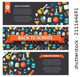 vector school flat design flyer ... | Shutterstock .eps vector #211164691