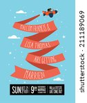 plane jet banner ribbon wedding ... | Shutterstock .eps vector #211189069