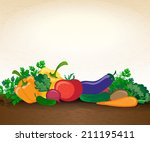 background with vegetables | Shutterstock .eps vector #211195411
