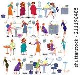 set of cartoon female... | Shutterstock .eps vector #211196485