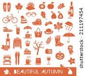 big set of autumn vector icons   Shutterstock .eps vector #211197454
