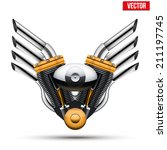 motorcycle engine with metal... | Shutterstock .eps vector #211197745