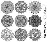 set mandalas. round ornament... | Shutterstock .eps vector #211198261