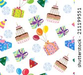 seamless pattern with happy... | Shutterstock .eps vector #211199551