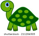 a smiling green turtle | Shutterstock .eps vector #211206505