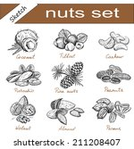 almond and assorted nuts. set... | Shutterstock .eps vector #211208407
