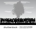 children silhouettes | Shutterstock .eps vector #211221559